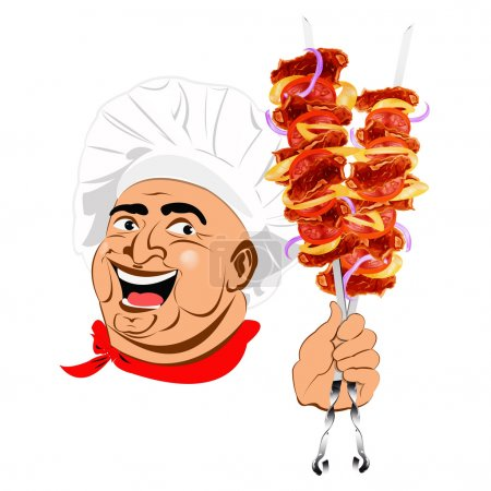 Fresh hot delicious shish kebab poster from Chef.Vector illustration