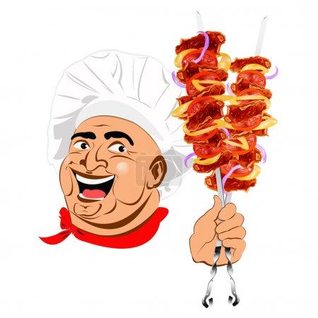 Illustration pour Affiche fraîche de kebab au shish délicieux de Chef.Illustration vectorielle - image libre de droit