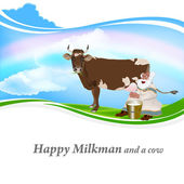 Old Grandpa milkman and a cow