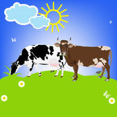 Dairy Cows on a green meadow.Sticker Natural Milk Product.Vector