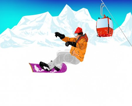 Mountain skiing.Extreme Snowboard.Vector
