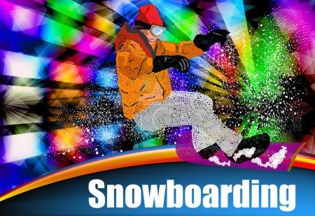 Extreme Snowboarding.Sport.Ski.Freestyle Skiing.Vector