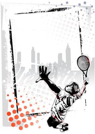 Illustration pour Illustration du joueur de tennis - image libre de droit