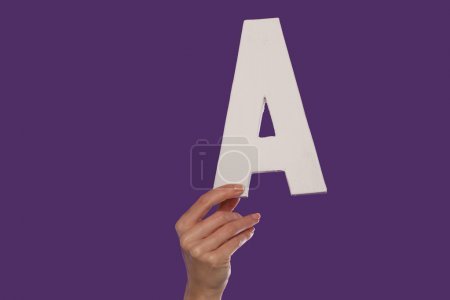 Photo for Female hand holding up the uppercase capital letter A isolated against a purple background conceptual of the alphabet, writing, literature and typeface - Royalty Free Image