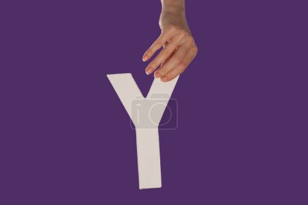 Photo for Female hand holding up the uppercase capital letter Y isolated against a purple background conceptual of the alphabet, writing, literature and typeface - Royalty Free Image