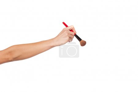 Photo for Cropped studio shot showing an extended female arm and hand holding a make-up brush, isolated over white - Royalty Free Image