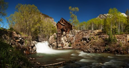 Scenic panorama of Crystal Mill in Colorado