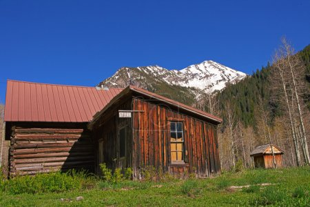 Old wood buildings in the Crystal Mill Ghost town