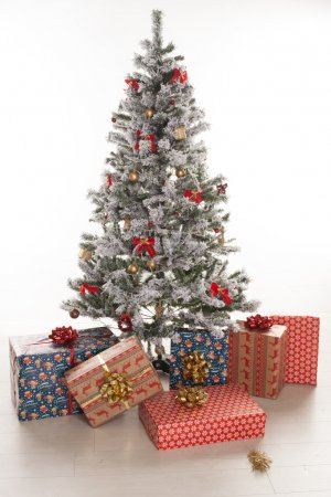 Gift boxes wrapped under the Christmas tree