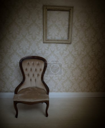 Interior decor background with a vintage chair