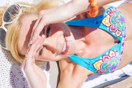 beautyful blonde woman at the beach