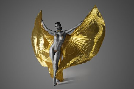 Half Naked Woman Spreading Her Golden Wings