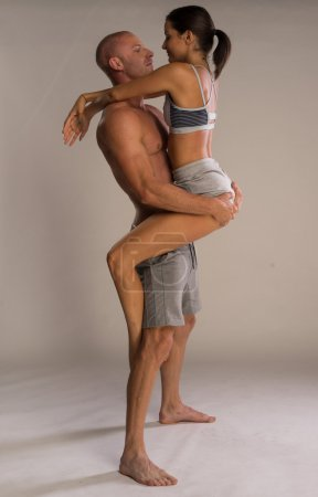 Athletic physical romantic couple