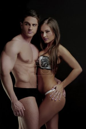 Young Sexy Couple Posing for Underwear Fashion