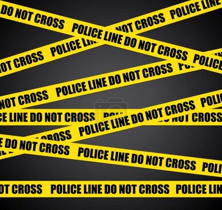 Illustration pour Ligne de police. Ne traversez pas. Contexte de scène de crime vectoriel . - image libre de droit