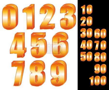 3D Gold numbers vector set. Zero to ten. Ten to hundred.