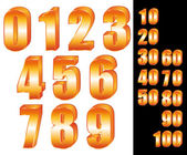 3D Gold numbers vector set Zero to ten Ten to hundred