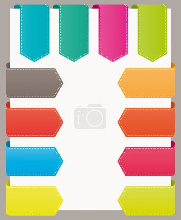 Colorful bookmarks website ribbons. Vector set.