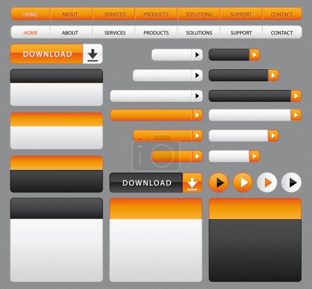 Website buttons, boxes and navigation bar. Orange and grey set.