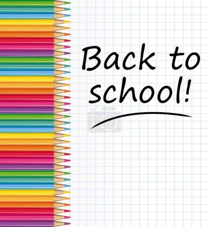 Illustration pour Texte de retour à l'école sur un papier avec des crayons de couleur. Illustration vectorielle . - image libre de droit