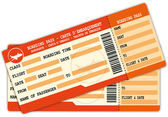 Two Boarding passes Red flight coupons