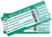 Two Boarding passes Green and blue flight coupons