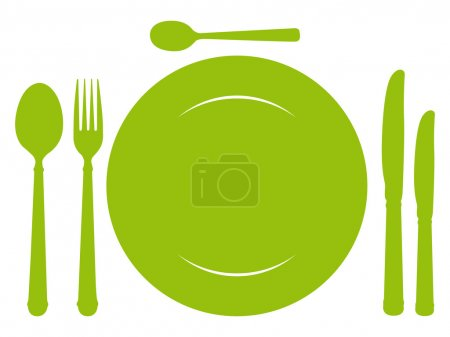 Green design place setting with knives, plate, spoons and fork.