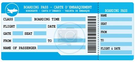 Boarding pass. Blue flight coupon.