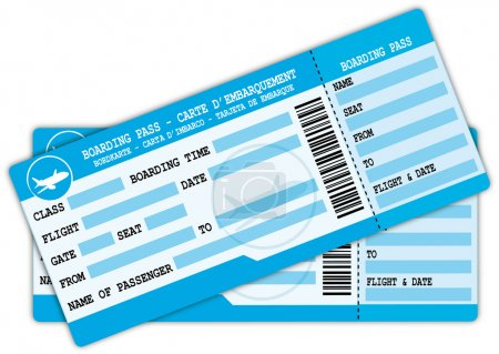 Two boarding passes. Blue flight coupons.