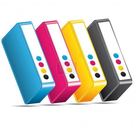 CMYK CMJN ink toners. Cartridges icon.