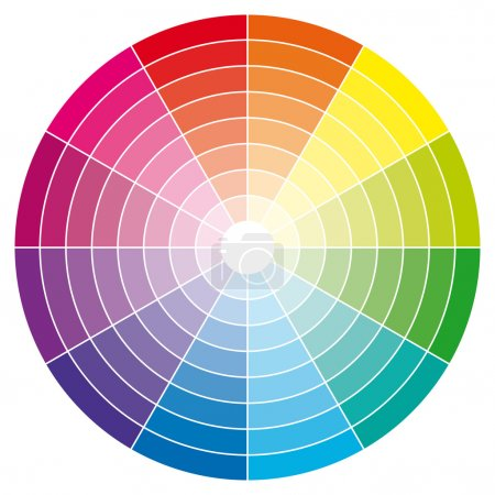 Color wheel with shade of colors. Vector illustration.