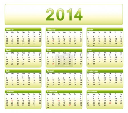 Green 2014 calendar. American version with public holidays.