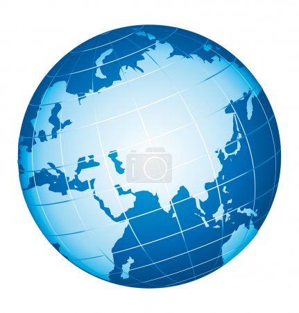 Illustration for World globe icon. Asian and Russia view. - Royalty Free Image
