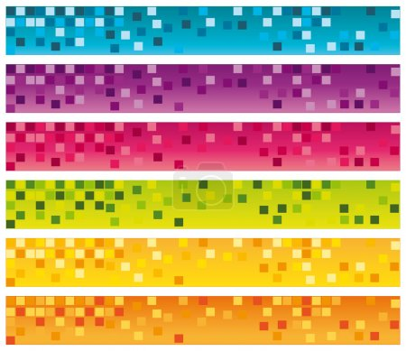 Colorful mosaic banners set. 728x90 for commercial use. Vector collection.