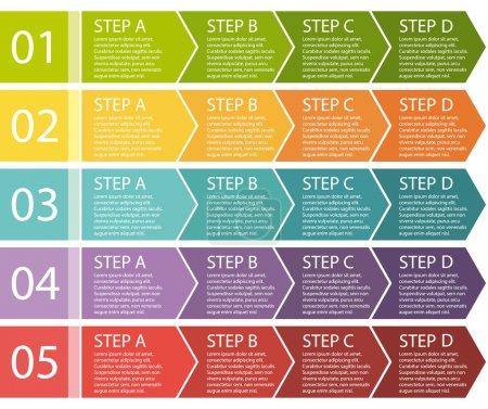 Illustration pour Design plat. boîtes de processus de flèches. ensemble de vecteur étape par étape. quatre étapes. - image libre de droit