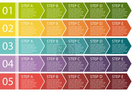 Flat design. Process arrows boxes. Step by step vector set. Five steps.