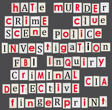 Illustration for Crime and forensic science theme illustration. Anonymous letter words. - Royalty Free Image