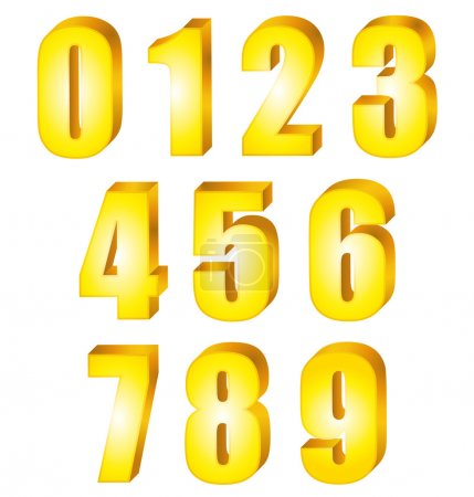 3D Shiny yellow gold numbers. Vector set.