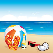 Beach items Vacation illustration