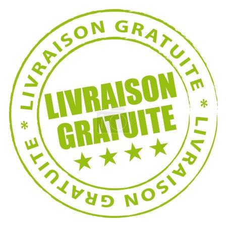 Illustration pour Tampon vert livraison gratuite. - image libre de droit