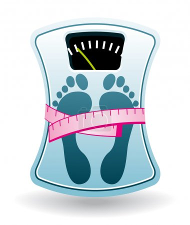 Blue bathroom scale with pink tape measure. Fresh diet concept icon.