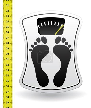 White bathroom scale and tape measure. Diet program.