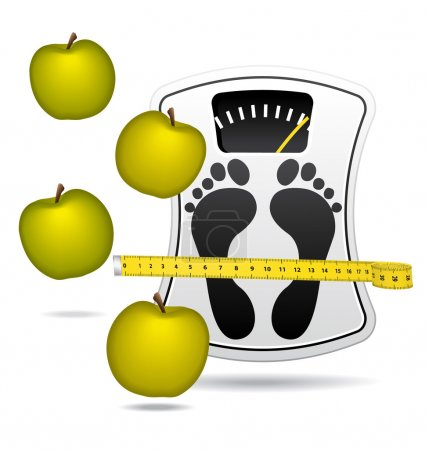 White bathroom scale with apples. Diet concept icon.