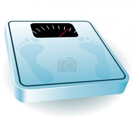 Blue bathroom scale. Fresh diet concept icon.