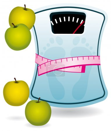 Blue bathroom scale with apples.