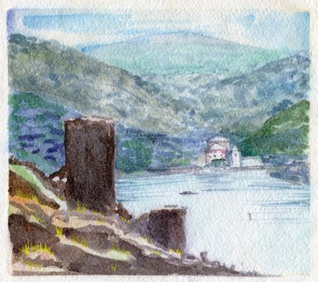 Watercolor Painting. Ruins of Ancient Fortress.