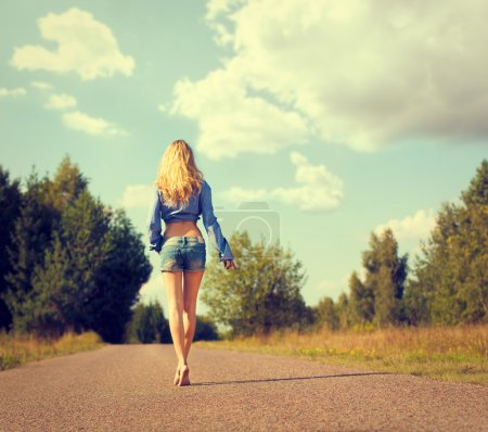 Sexy Blonde Woman Walking Away