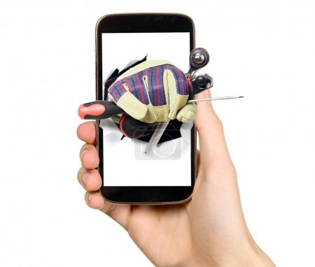 Man is showing tools from mobile phone screen