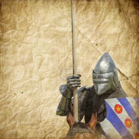 Armored knight on warhorse - retro postcard on vin...