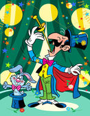 The magician with a rabbit in a circus